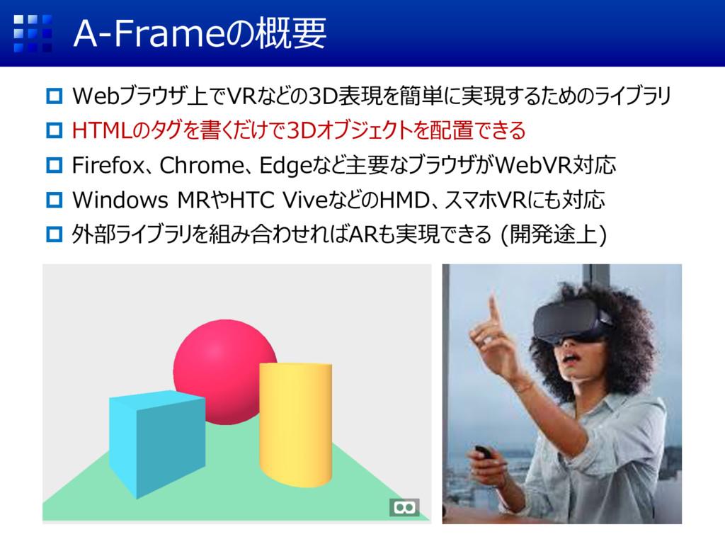 A-Frameの概要  Webブラウザ上でVRなどの3D表現を簡単に実現するためのライブラリ...