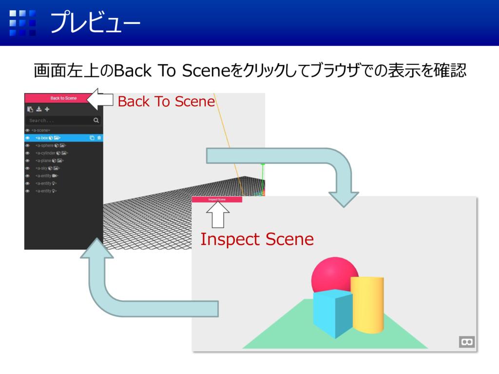 プレビュー 画面左上のBack To Sceneをクリックしてブラウザでの表示を確認 Back...