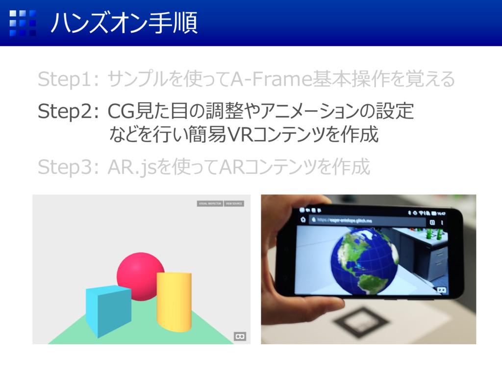 ハンズオン手順 Step1: サンプルを使ってA-Frame基本操作を覚える Step2: C...