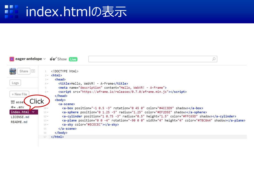 index.htmlの表示 Click