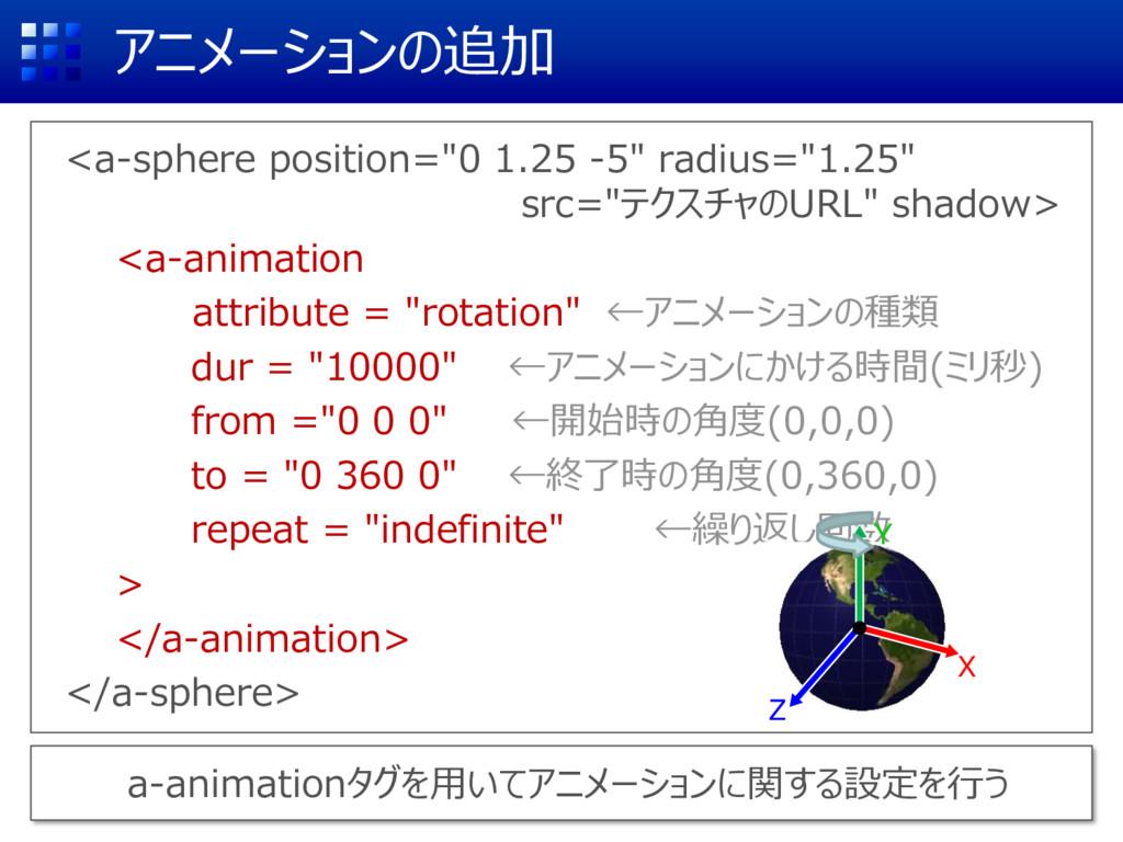 """アニメーションの追加 <a-sphere position=""""0 1.25 -5"""" radiu..."""