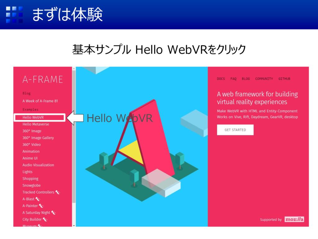 まずは体験 基本サンプル Hello WebVRをクリック Hello WebVR