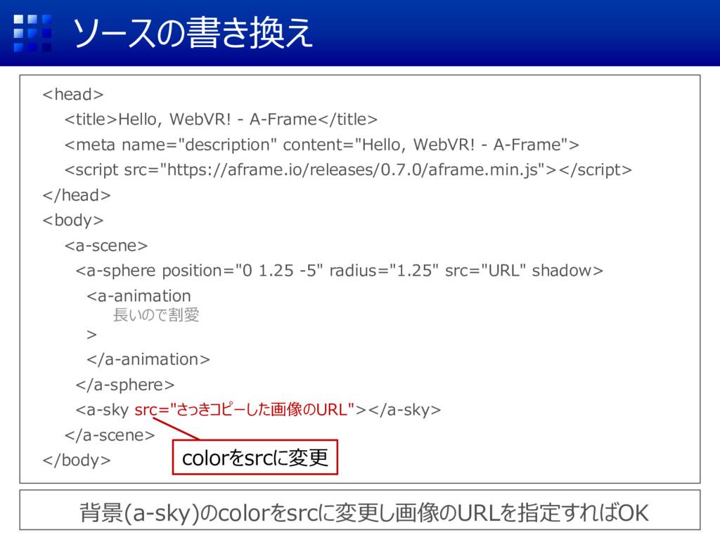 ソースの書き換え <head> <title>Hello, WebVR! - A-Frame<...