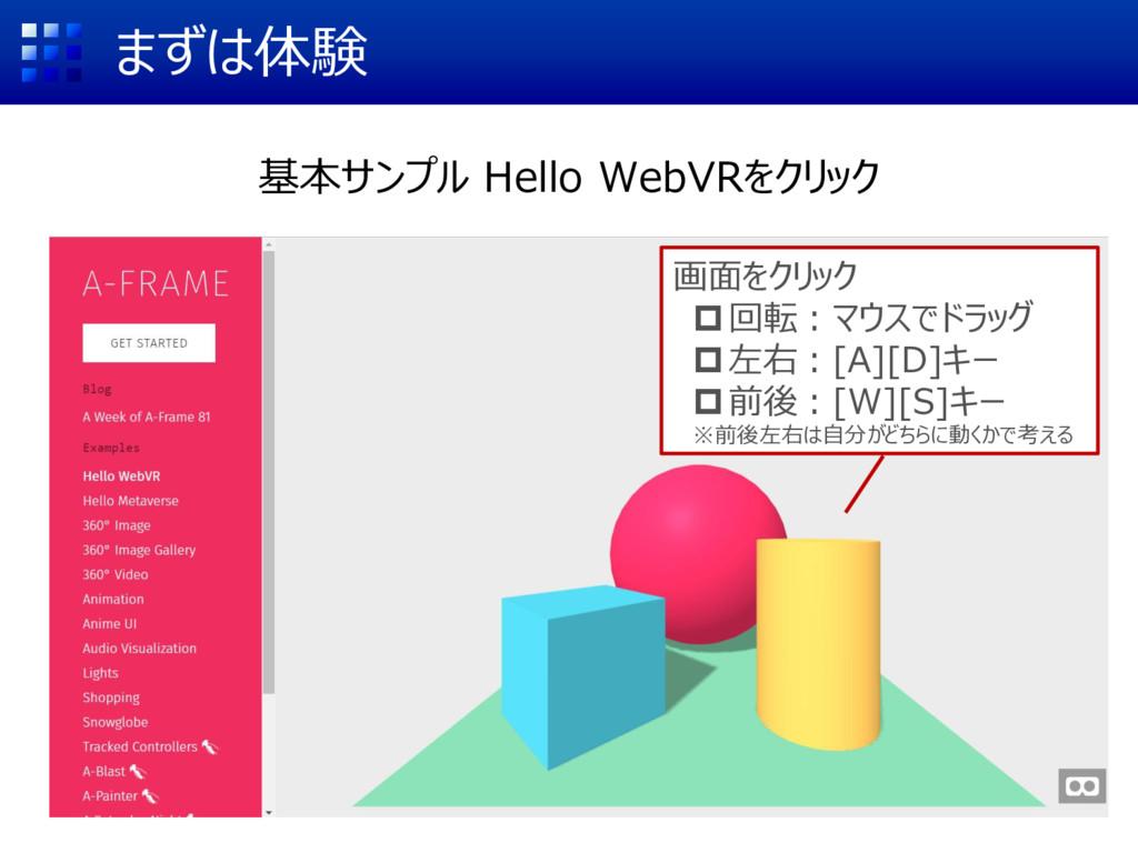 まずは体験 基本サンプル Hello WebVRをクリック 画面をクリック 回転:マウスでド...