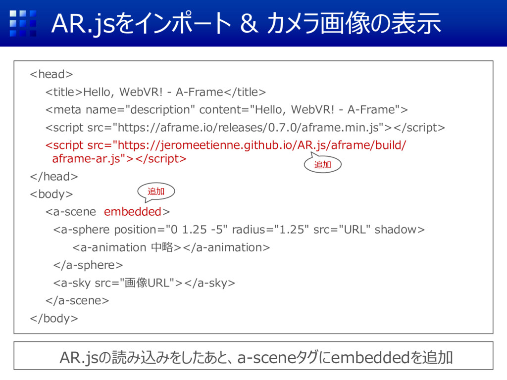 AR.jsをインポート & カメラ画像の表示 <head> <title>Hello, Web...
