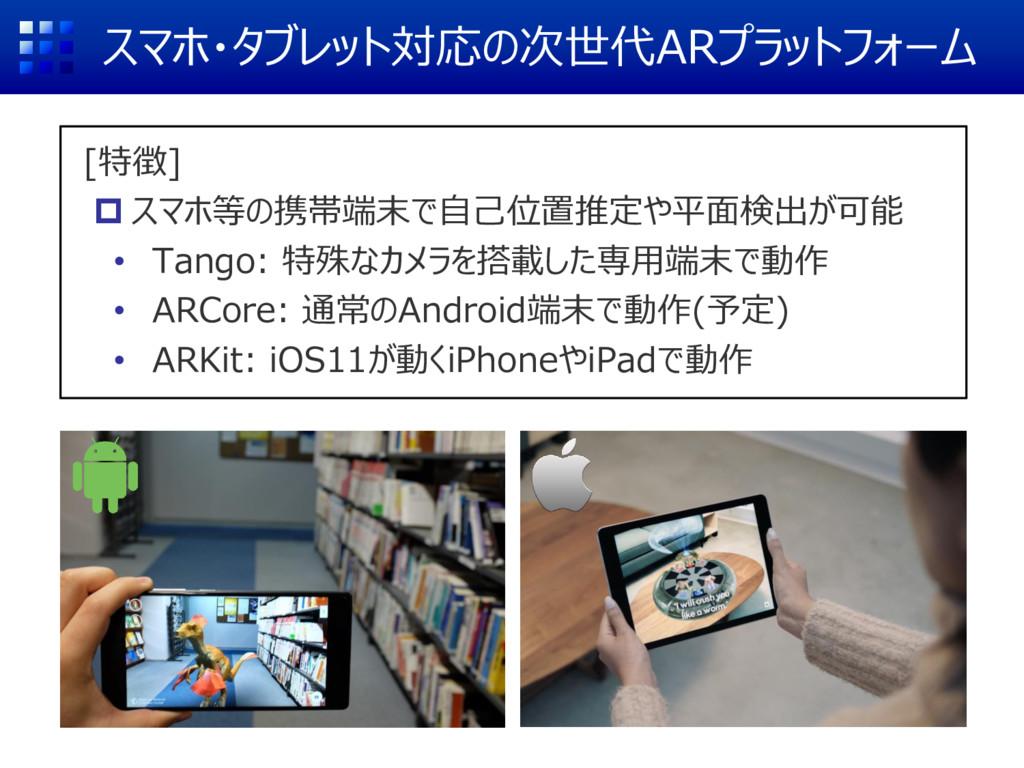 スマホ・タブレット対応の次世代ARプラットフォーム [特徴]  スマホ等の携帯端末で自己位置...