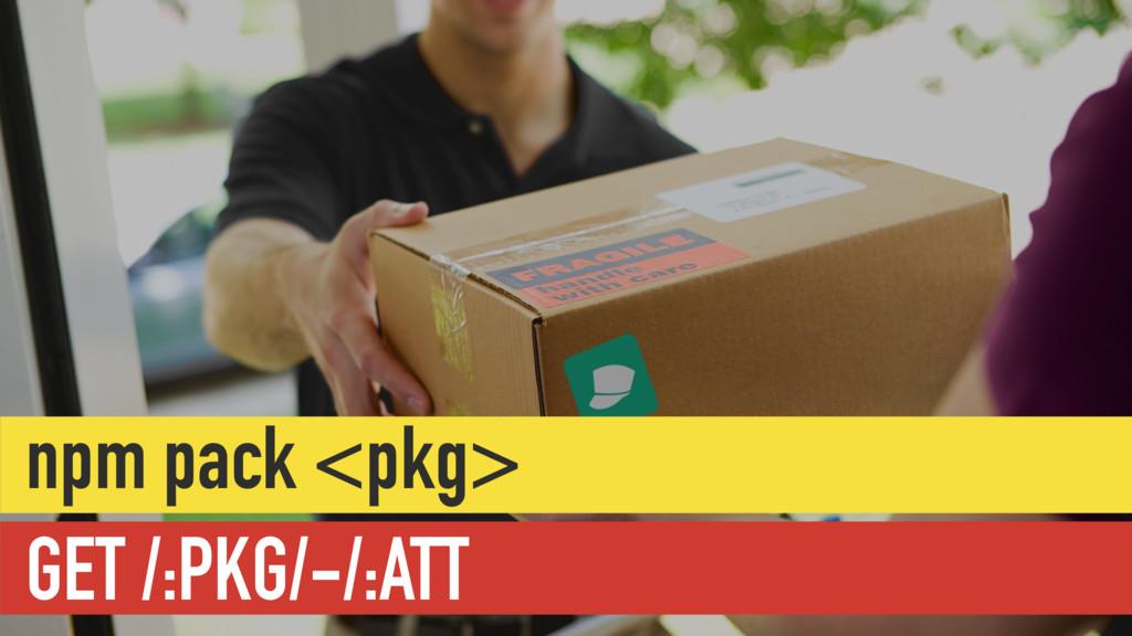 GET /:PKG/-/:ATT npm pack <pkg>