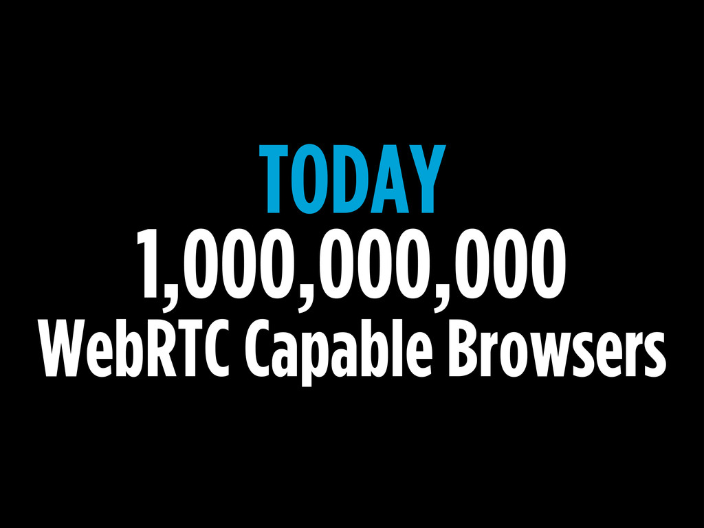 TODAY 1,000,000,000 WebRTC Capable Browsers
