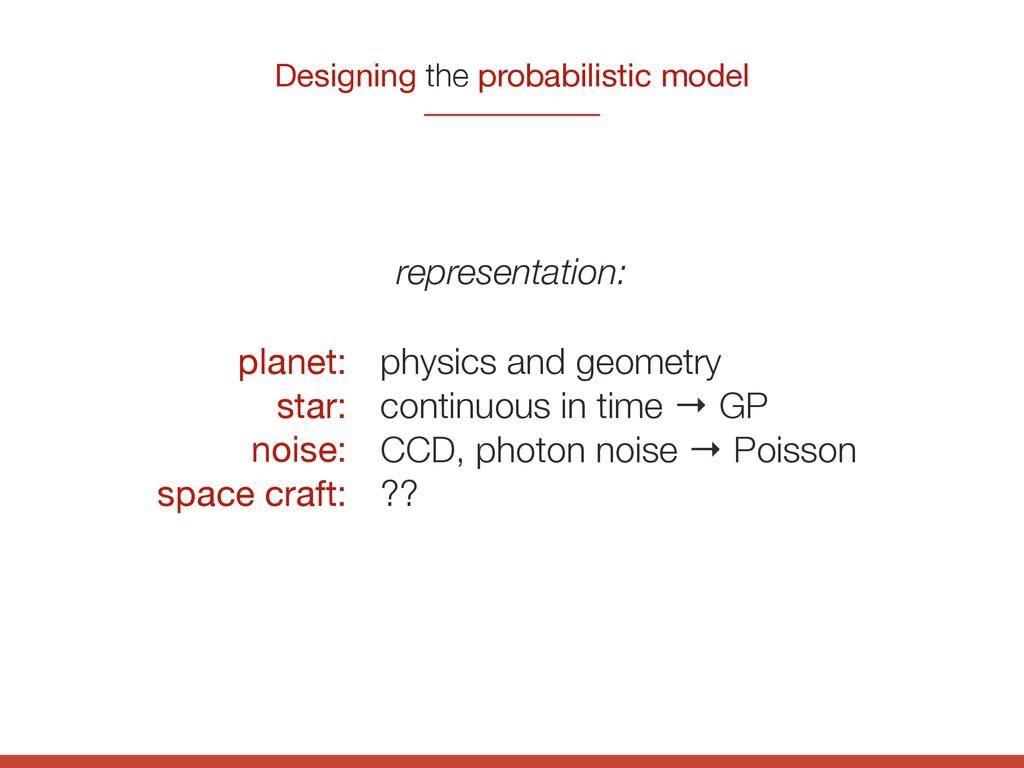 Designing the probabilistic model planet:  star...