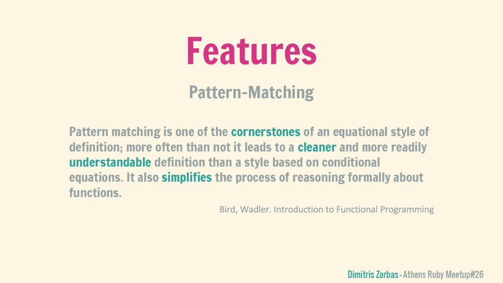 Features Pattern-Matching Dimitris Zorbas - Ath...