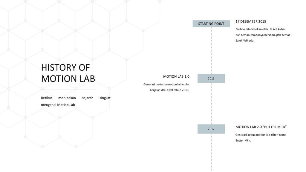 HISTORY OF MOTION LAB Generasi pertama motion l...
