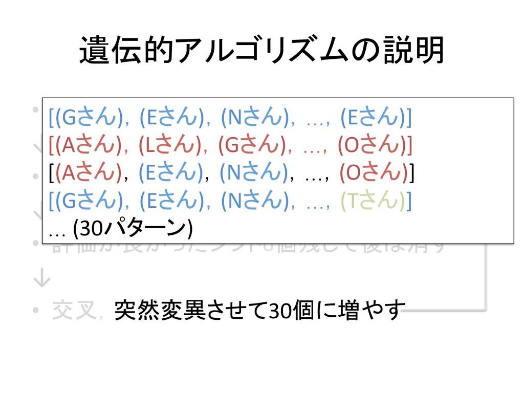 遺伝的アルゴリズムの説明 • シフト表をランダムに30パターン生成 • シフト表の良さを評...