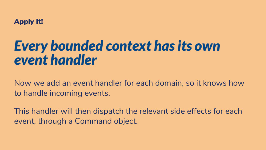 Apply It! Every bounded context has its own eve...