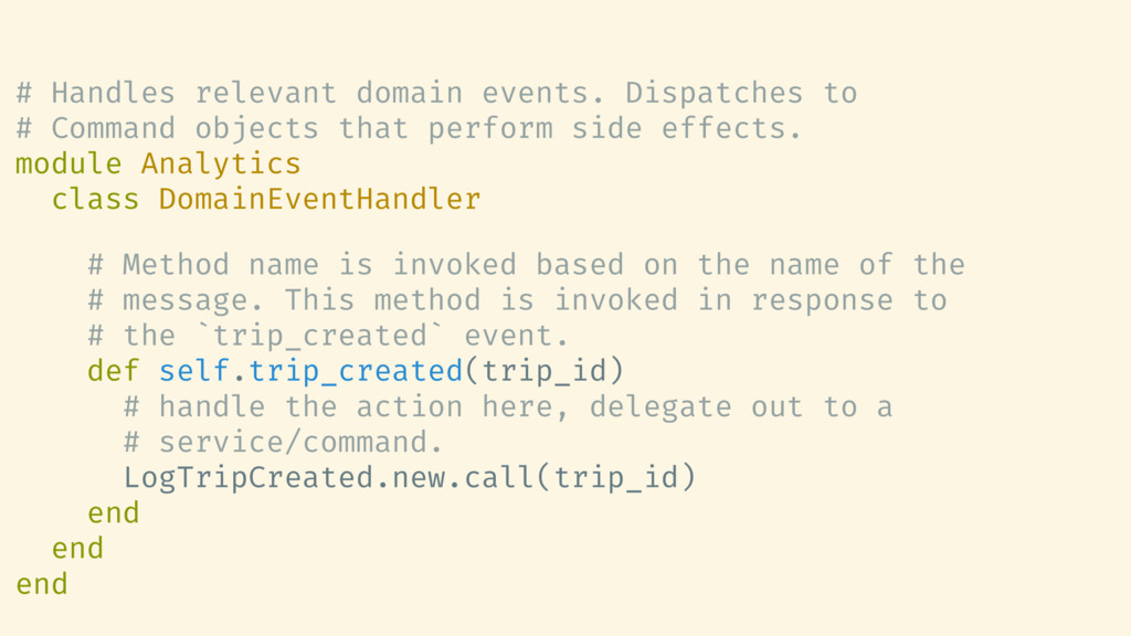 # Handles relevant domain events. Dispatches to...