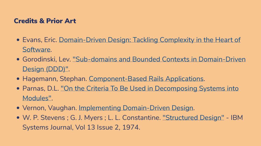 Credits & Prior Art Evans, Eric. Domain-Driven ...