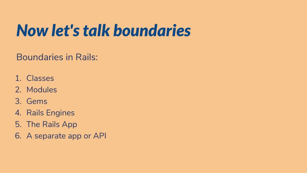 Now let's talk boundaries Boundaries in Rails: ...