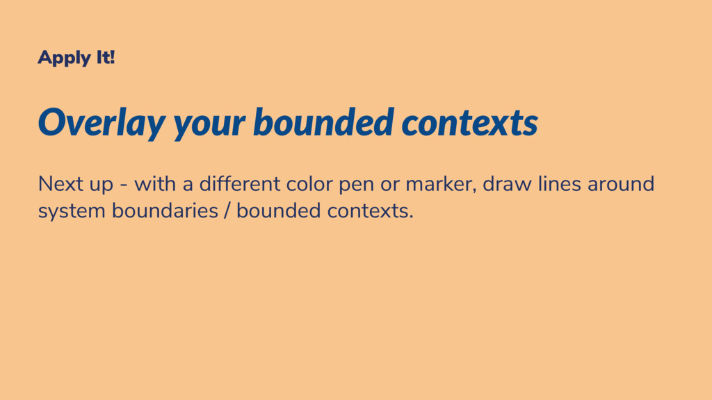 Apply It! Overlay your bounded contexts Next up...
