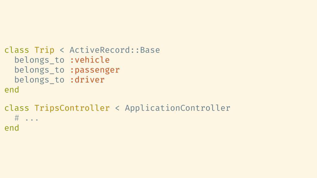 class Trip < ActiveRecord::Base belongs_to :veh...