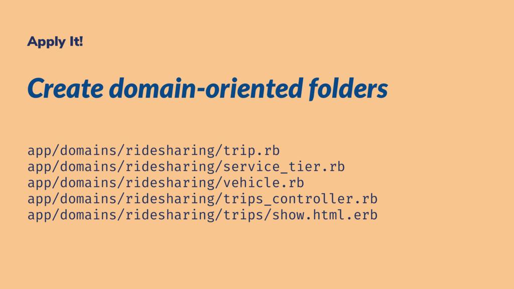 Apply It! Create domain-oriented folders app/do...