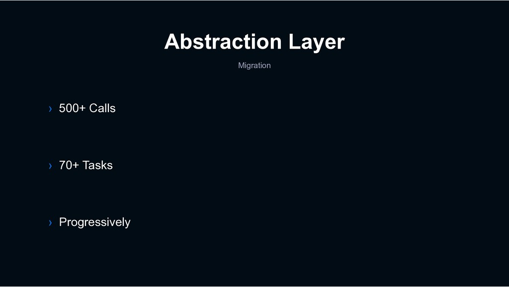 Abstraction Layer Migration › 70+ Tasks › 500+ ...