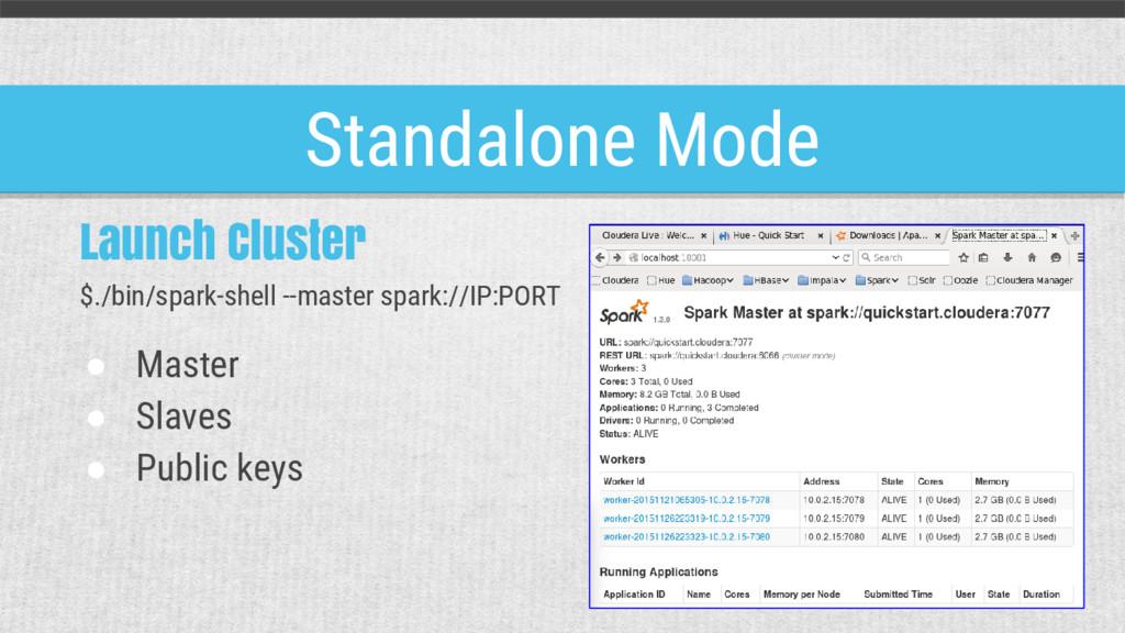 Standalone Mode Launch Cluster $./bin/spark-she...