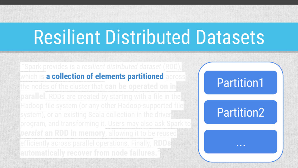 """Resilient Distributed Datasets """"Spark provides ..."""