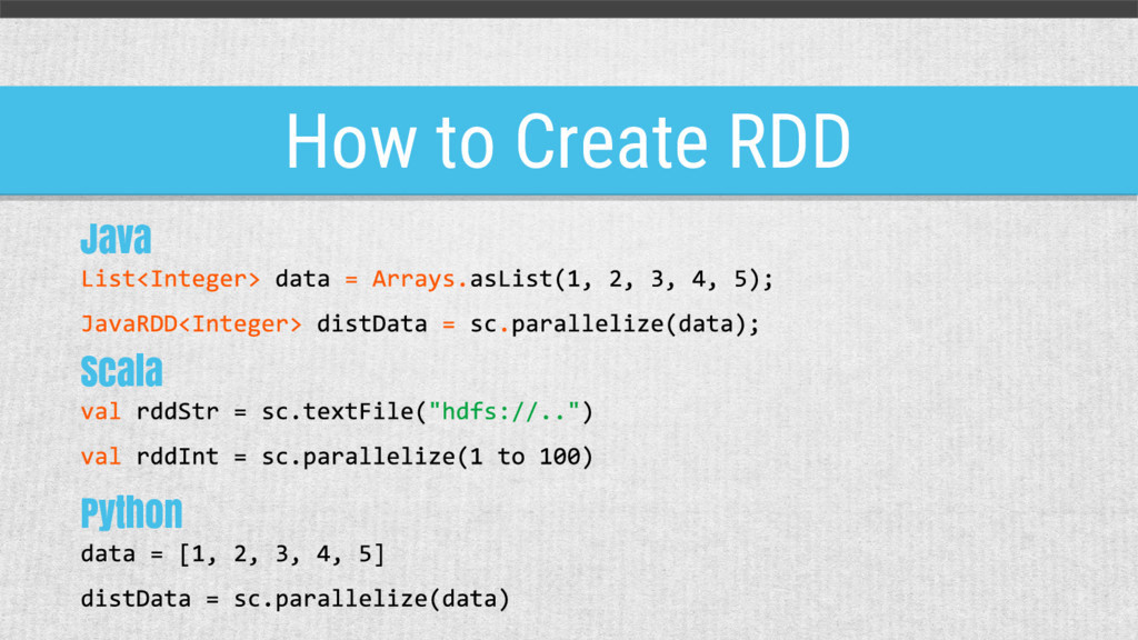 How to Create RDD Java Scala Python