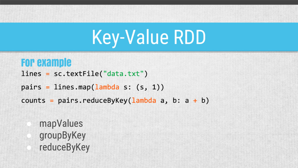 Key-Value RDD For example ● mapValues ● groupBy...