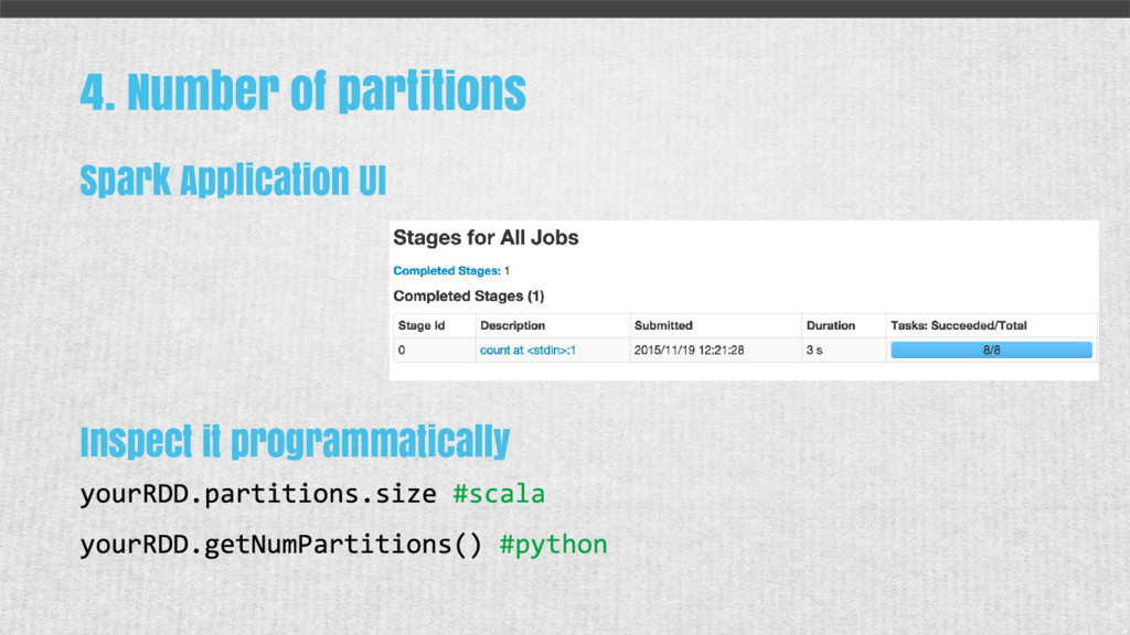 4. Number of partitions Spark Application UI In...