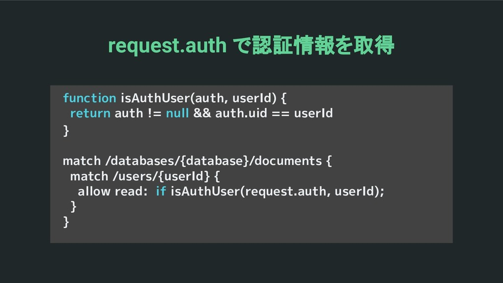 function isAuthUser(auth, userId) { return auth...