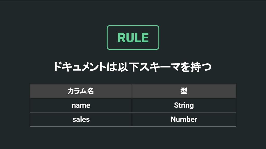ドキュメントは以下スキーマを持つ RULE カラム名 型 name String sales ...