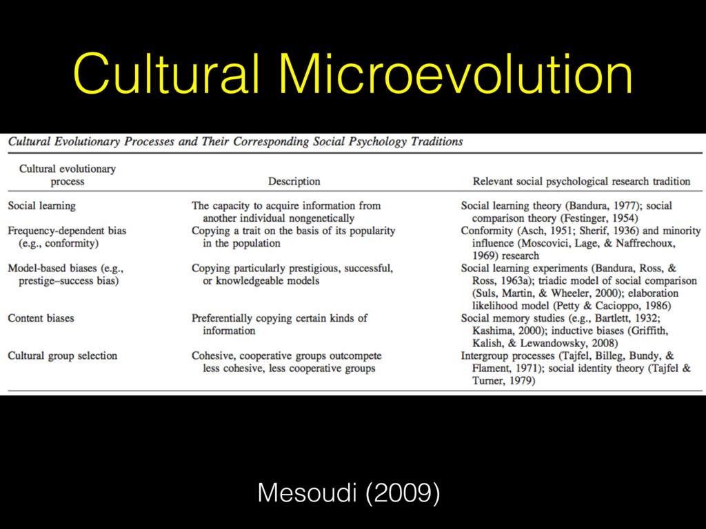 Cultural Microevolution Mesoudi (2009)