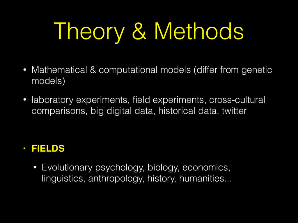 Theory & Methods • Mathematical & computational...