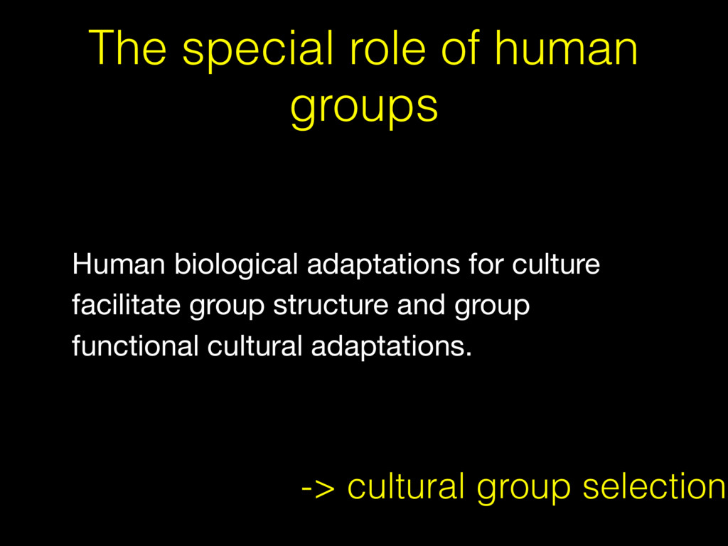 The special role of human groups -> cultural gr...
