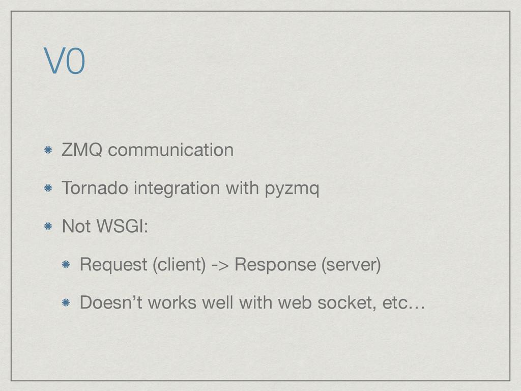 V0 ZMQ communication  Tornado integration with ...
