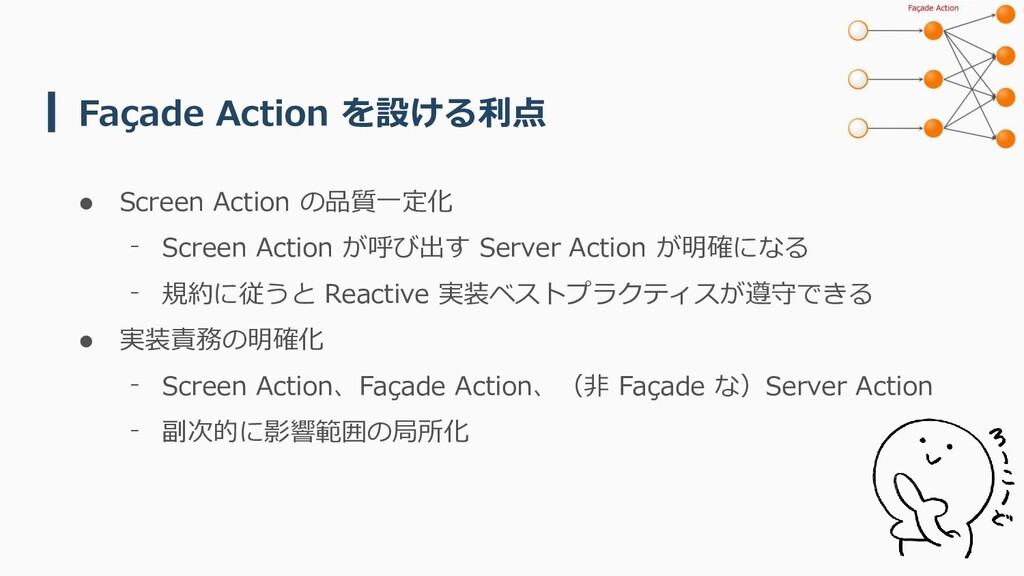 Façade Action を設ける利点 ⚫ Screen Action の品質一定化 ⁻ S...