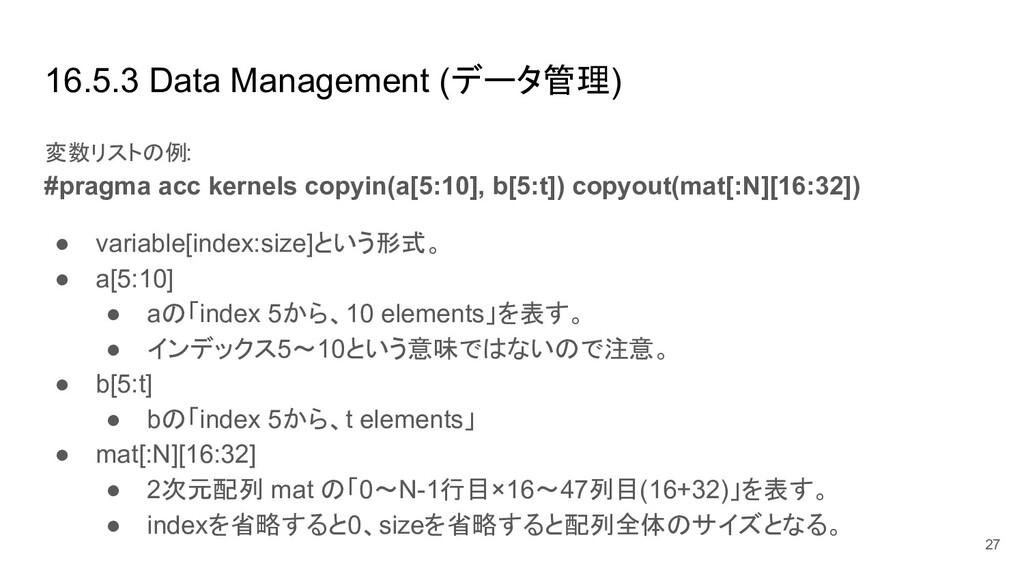 16.5.3 Data Management (データ管理) 変数リストの例: #pragma...