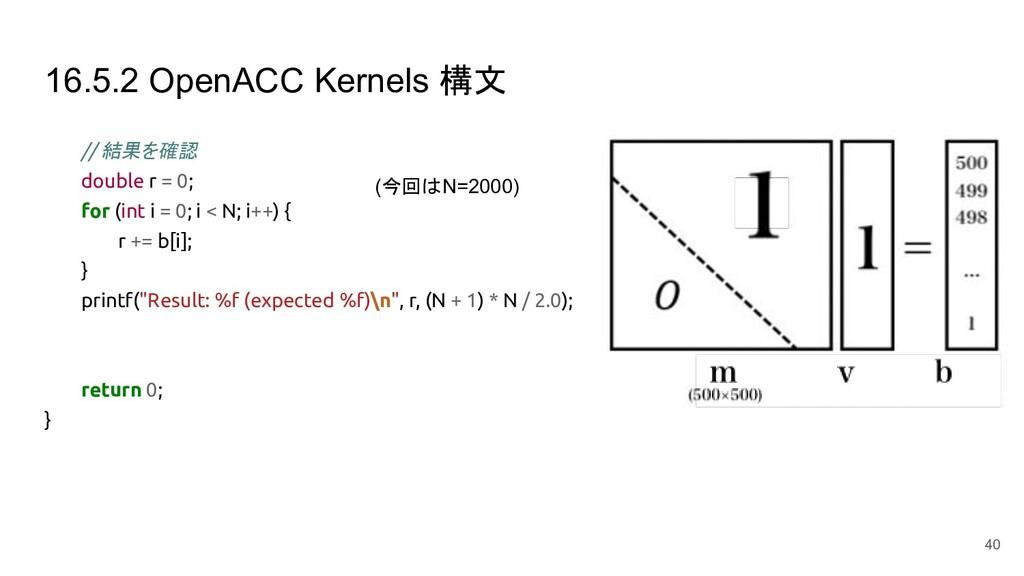 16.5.2 OpenACC Kernels 構文 // 結果を確認 double r = 0...