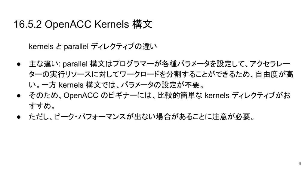16.5.2 OpenACC Kernels 構文 kernels と parallel ディ...