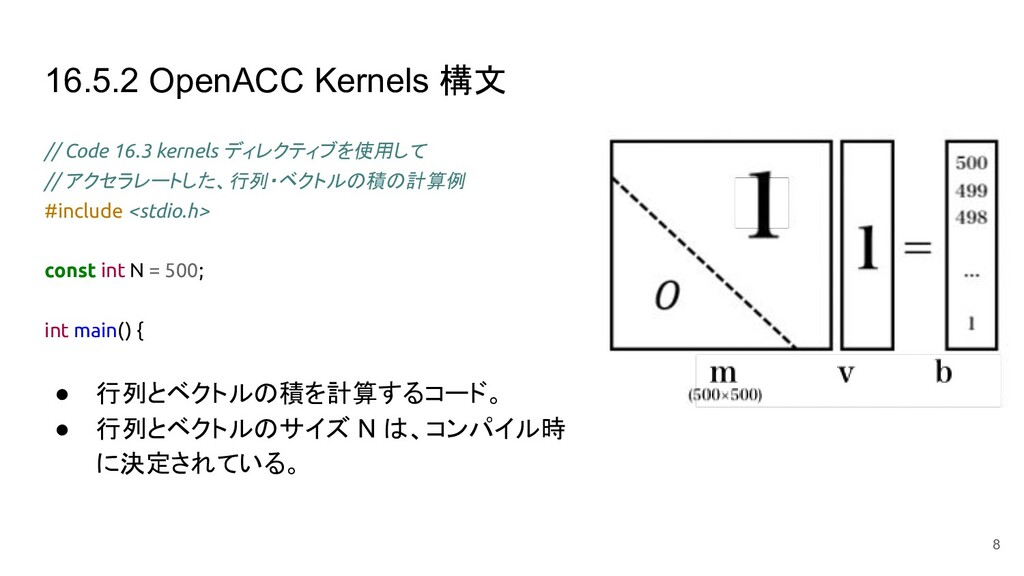 16.5.2 OpenACC Kernels 構文 // Code 16.3 kernels ...