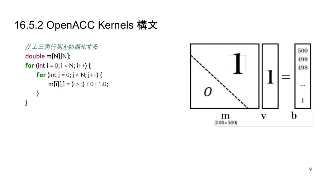 16.5.2 OpenACC Kernels 構文 // 上三角行列を初期化する double...