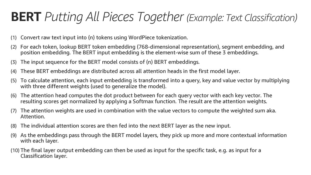 BERT Putting All Pieces Together (Example: Text...