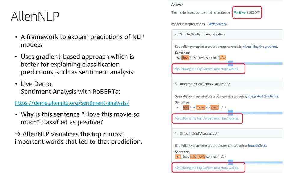 AllenNLP • A framework to explain predictions o...