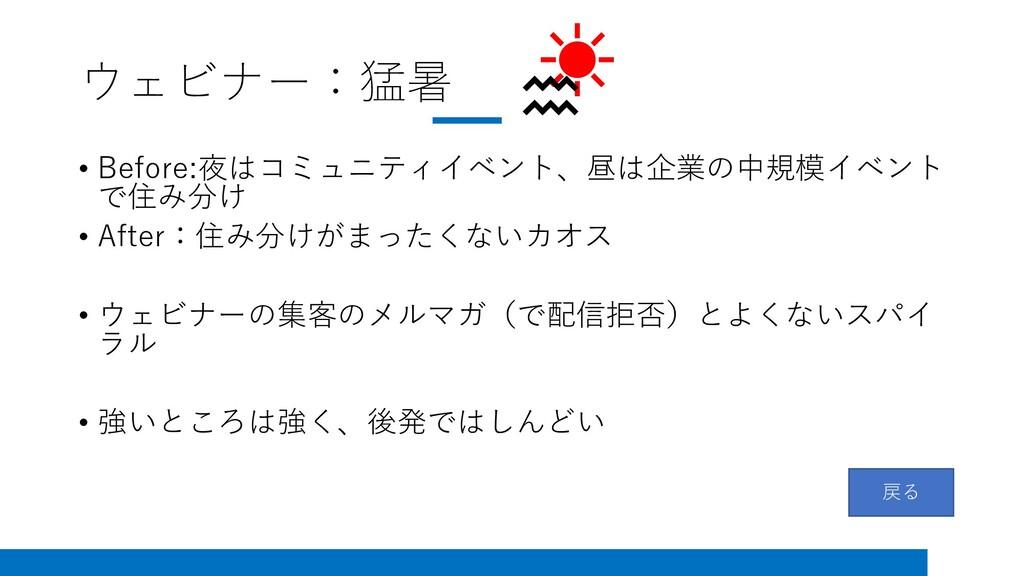 ウェビナー:猛暑 • Before:夜はコミュニティイベント、昼は企業の中規模イベント で住み...