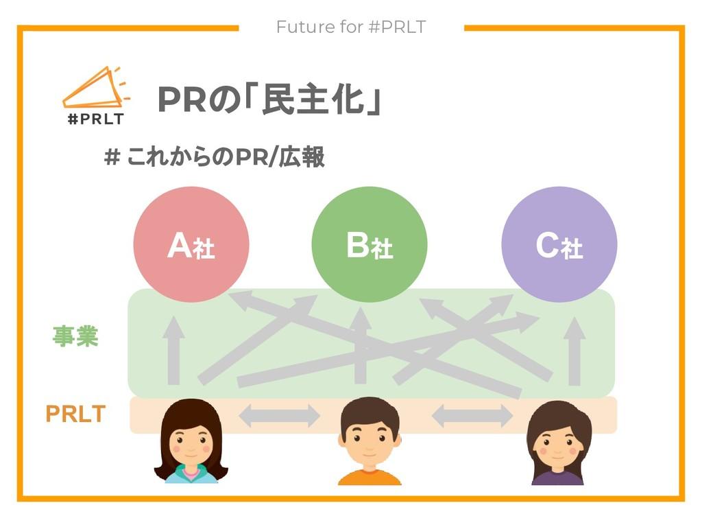 PRの「民主化」 Future for #PRLT A社 B社 C社 # これからのPR/広報...