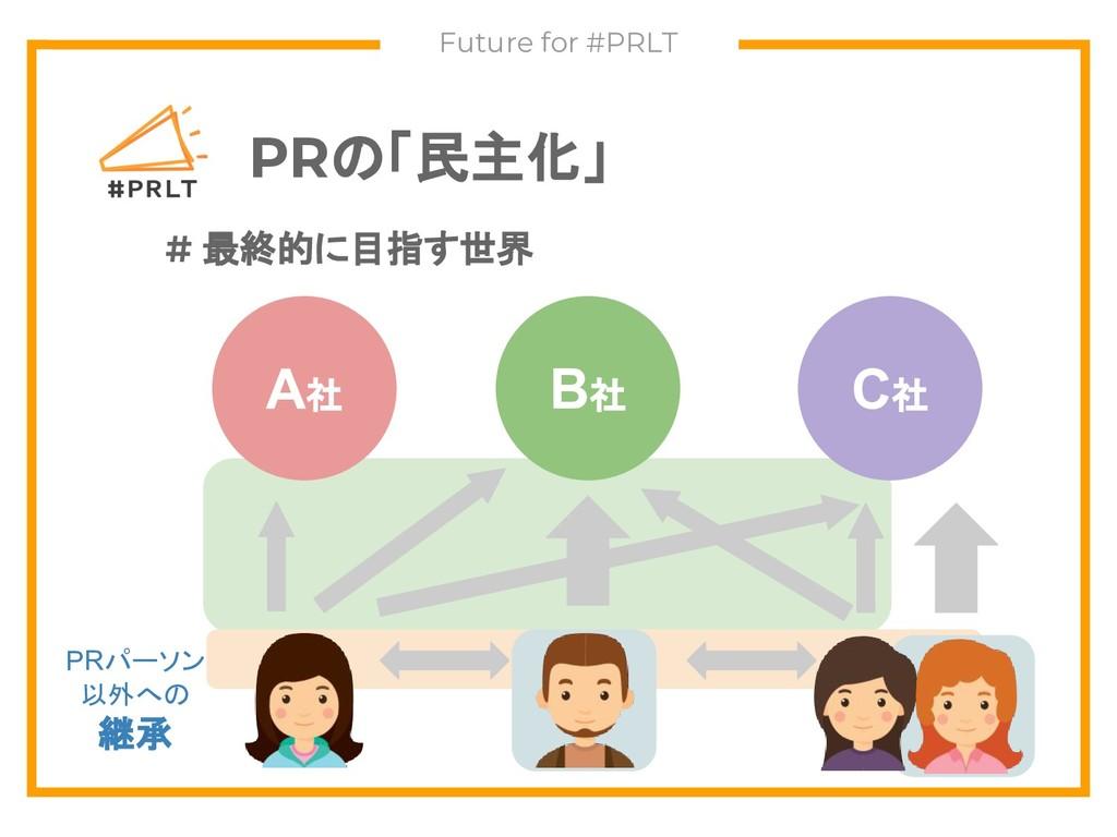 PRの「民主化」 Future for #PRLT A社 B社 C社 # 最終的に目指す世界 ...