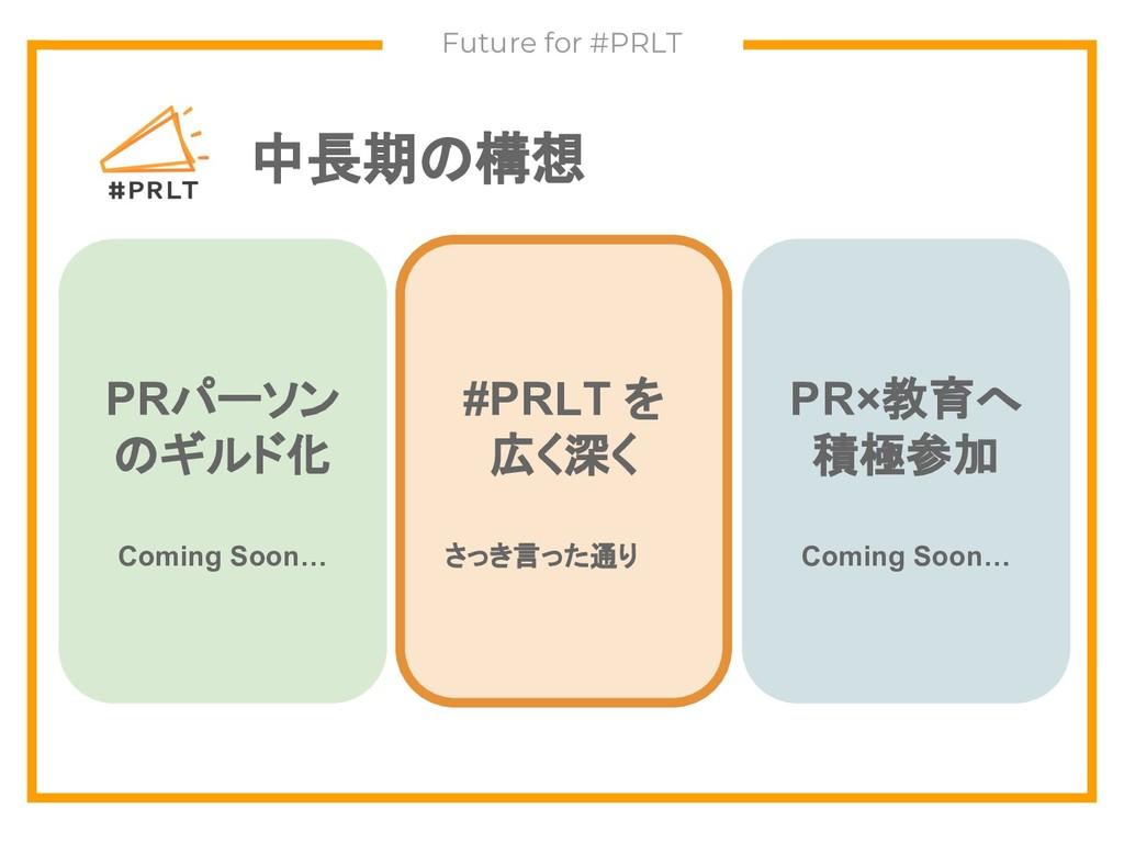 中長期の構想 Future for #PRLT PRパーソン のギルド化 Coming Soo...