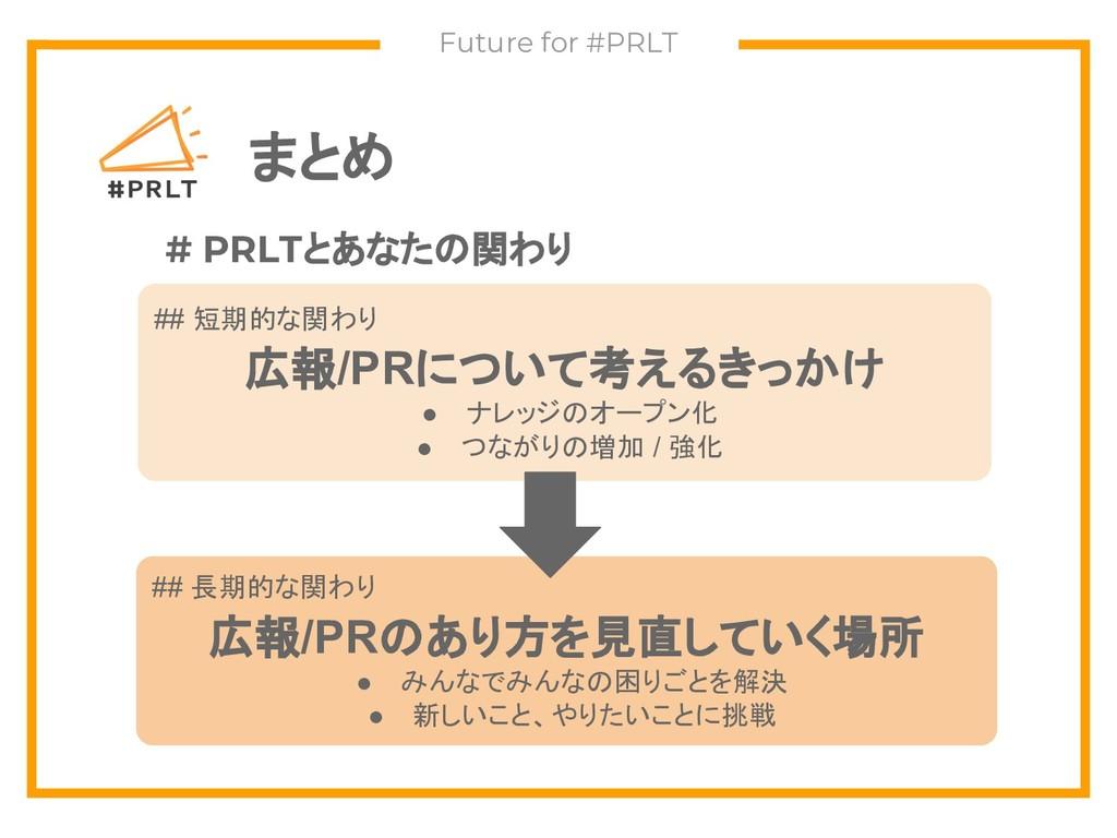 まとめ Future for #PRLT # PRLTとあなたの関わり ## 短期的な関わり ...
