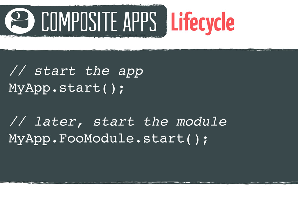 Composite Apps 2 Lifecycle // start the app MyA...