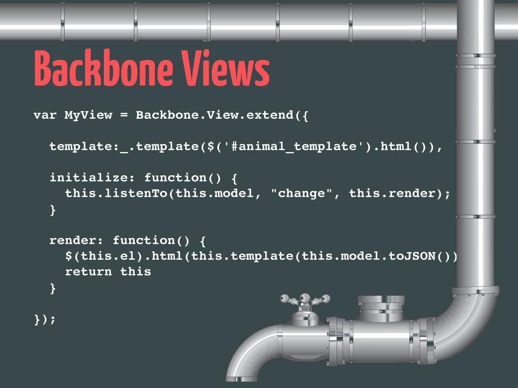 Backbone Views var MyView = Backbone.View.exten...